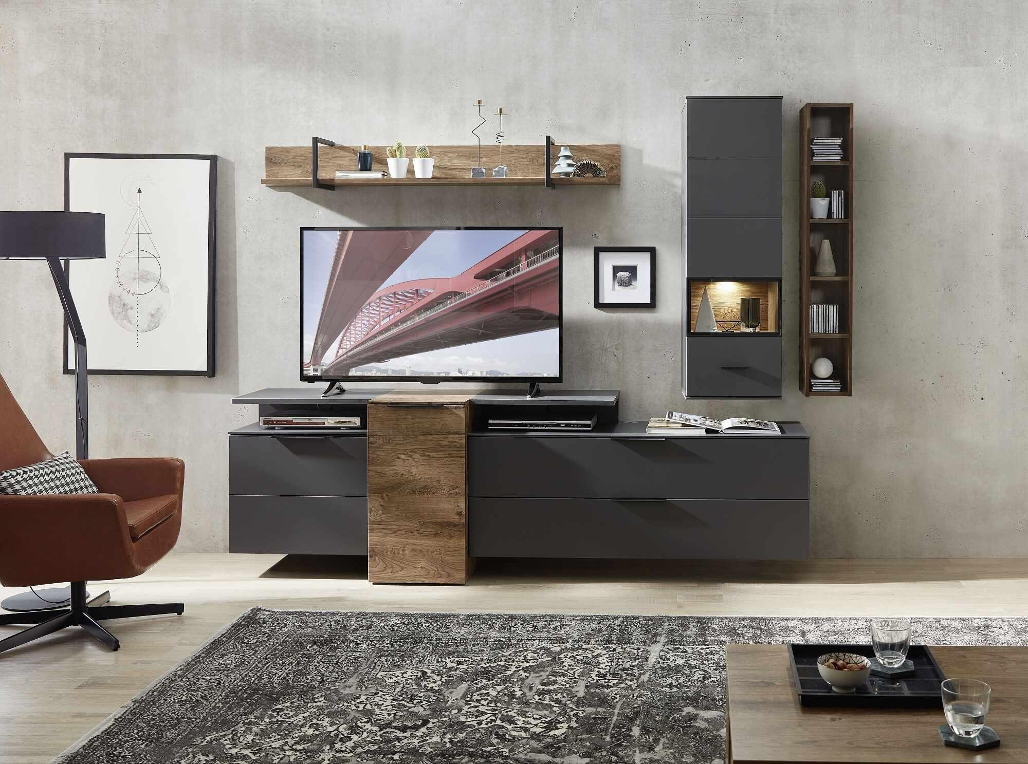 Set de mobila living din pal si MDF, 6 piese Madeline Havel Oak Cognac / Grafit la pret 3785 lei