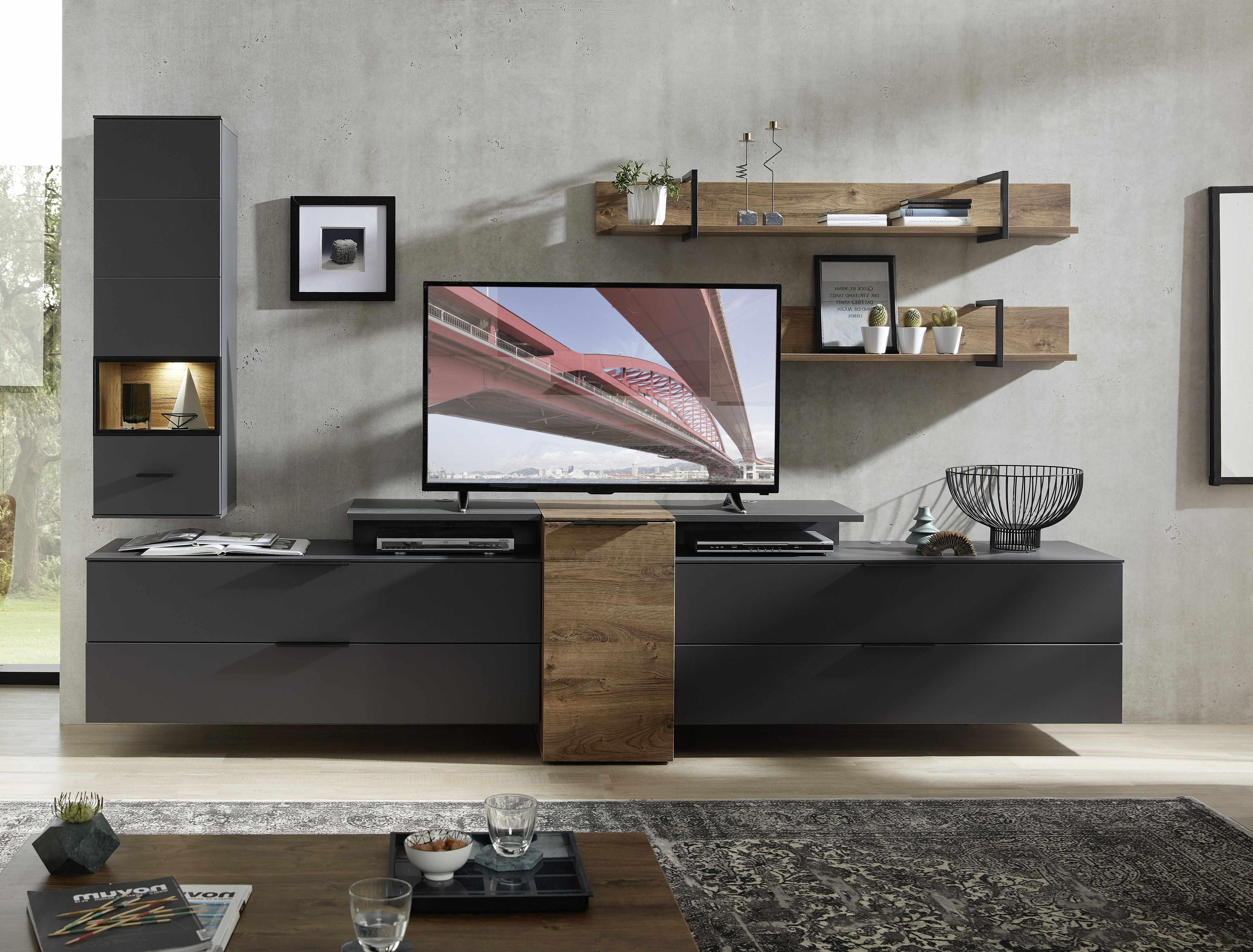 Set de mobila living din pal si MDF, 6 piese Madeline Large Havel Oak Cognac / Grafit la pret 4495 lei