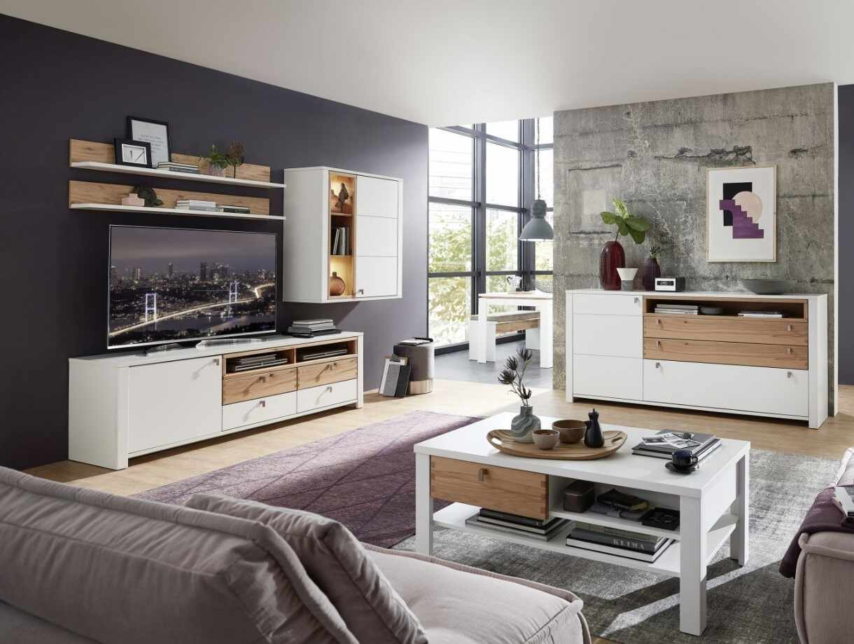 Set de mobila living din pal si MDF, 6 piese Selina Alb / Natur la pret 6992 lei