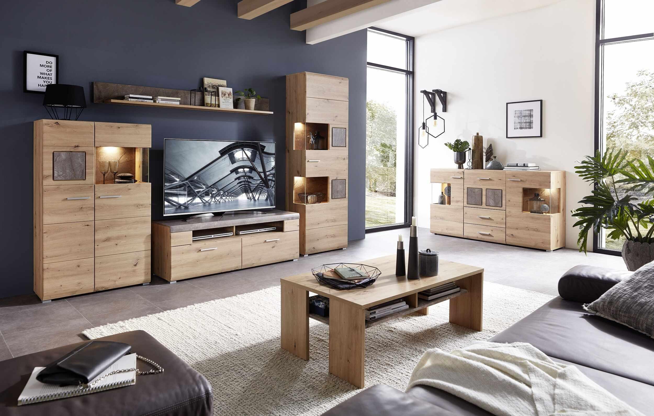 Set de mobila living din pal si MDF, 6 piese Skylar Stejar la pret 5613 lei