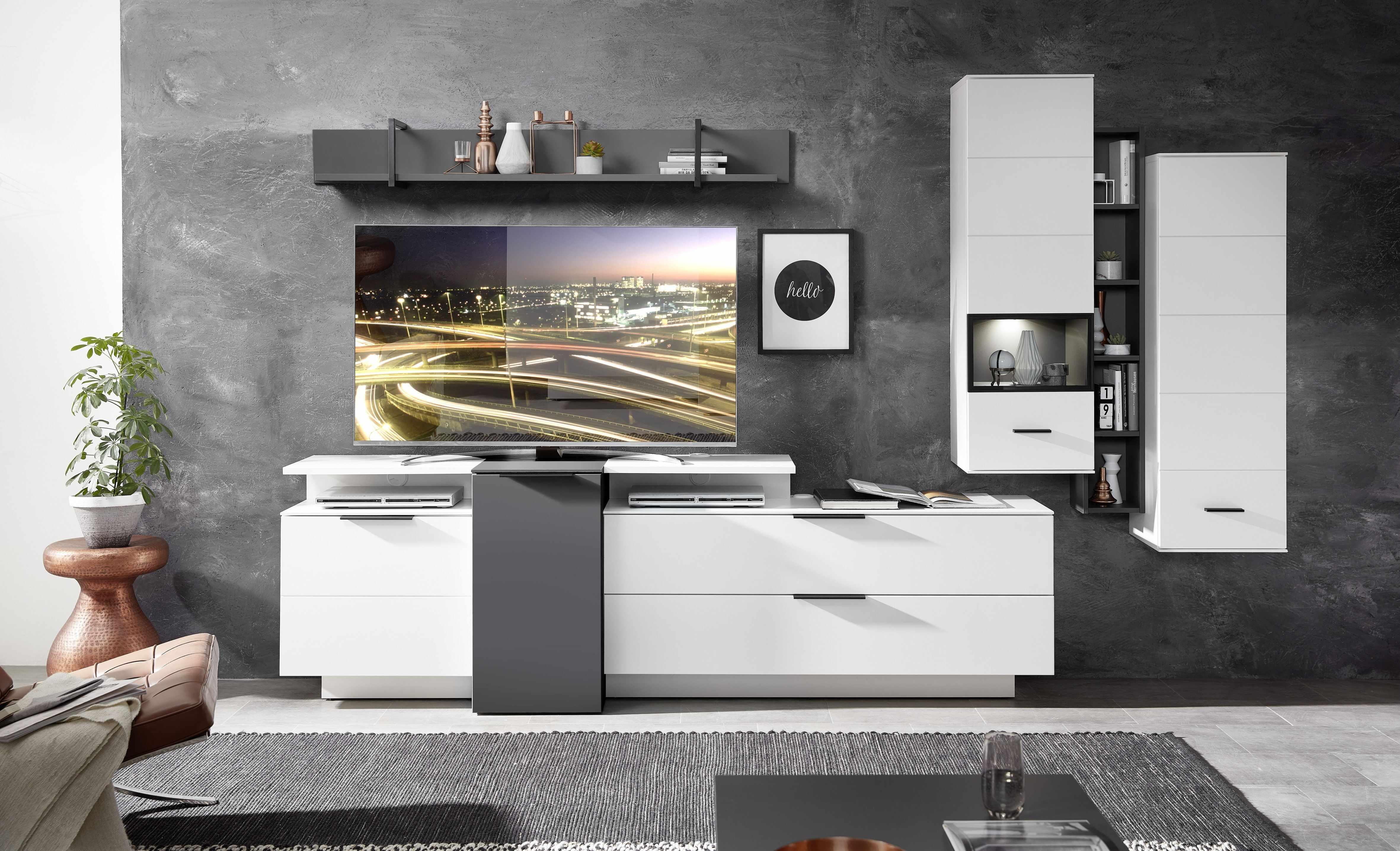 Set de mobila living din pal si MDF, 7 piese Madeline Alb / Grafit la pret 4305 lei