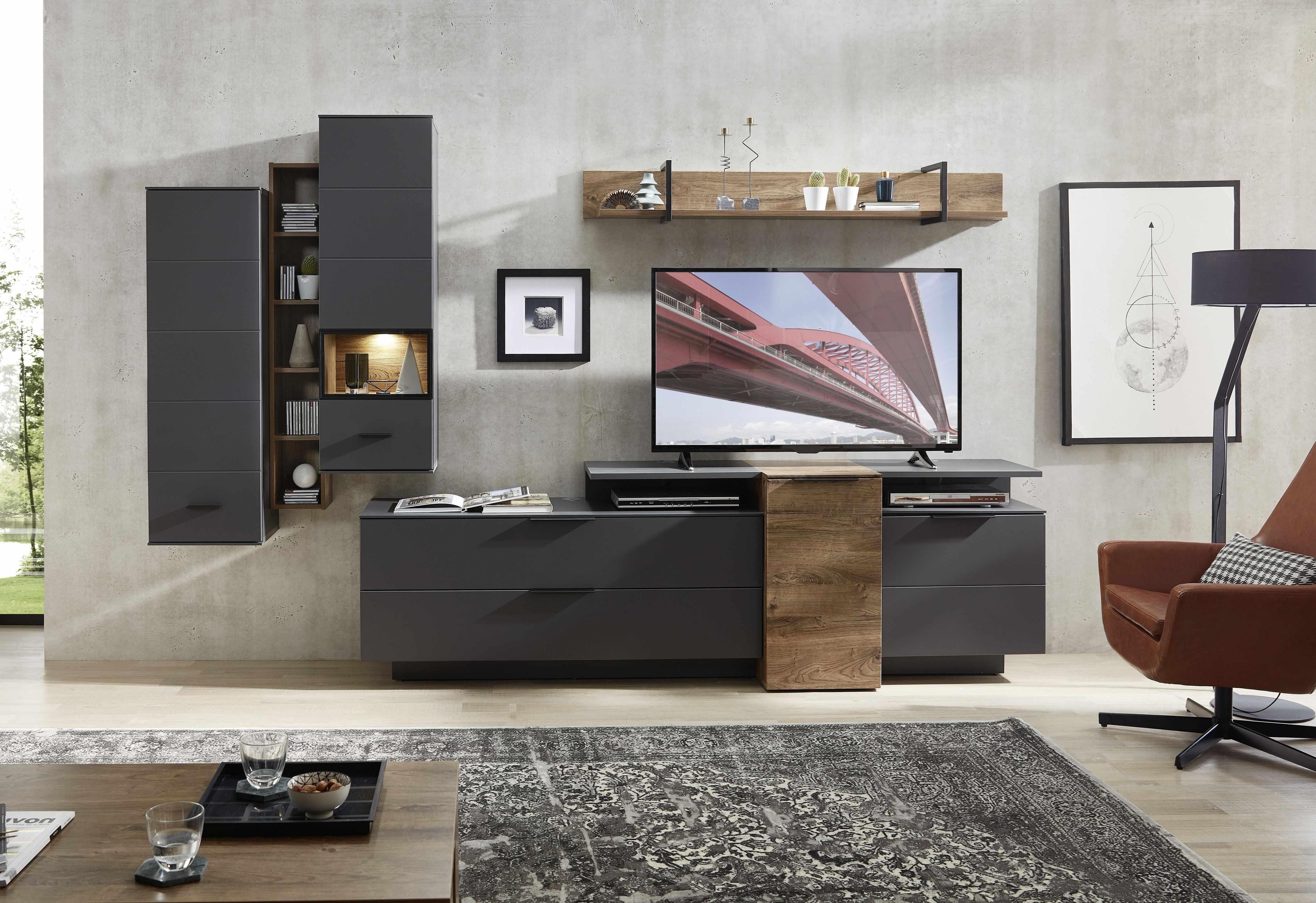Set de mobila living din pal si MDF, 7 piese Madeline Havel Oak Cognac / Grafit la pret 4305 lei