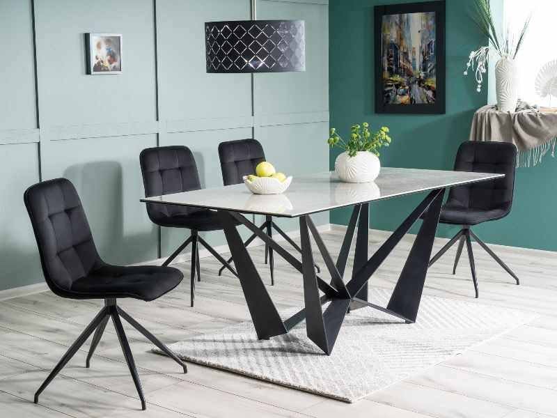Set masa din ceramica, sticla si metal Mavis Gri / Negru + 4 scaune tapitate cu stofa Tilde Velvet Negru, L180xl90xH76 cm la pret 4316 lei