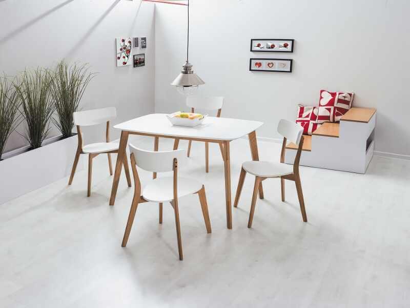 Set masa din MDF si lemn Mosso I Alb / Stejar + 4 scaune din lemn si MDF Mosso II Alb / Stejar, L120xl75xH75 cm la pret 1815 lei