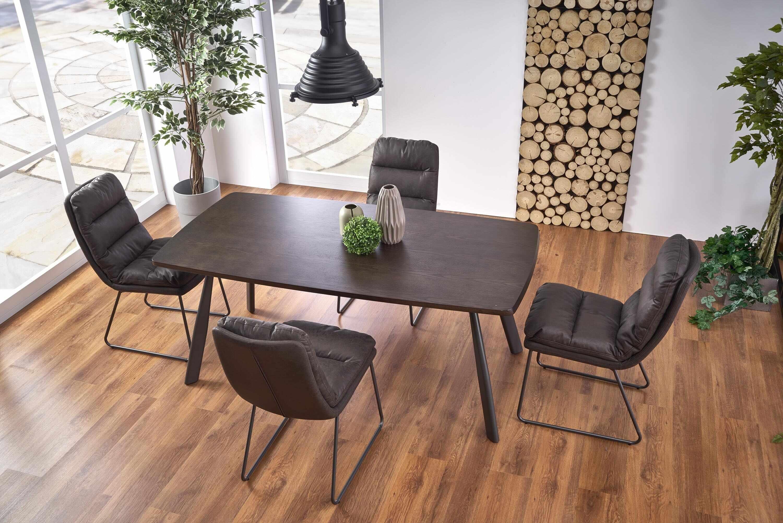 Set masa din MDF si metal Firmino Nuc / Grafit + 4 scaune tapitate cu piele ecologica K320 Gri inchis, L180xl90xH76 cm la pret 3454 lei