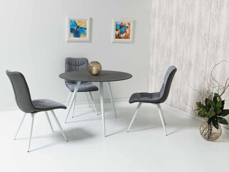 Set masa din sticla si metal Evita Gri / Alb + 4 scaune tapitate cu stofa si piele ecologica Evita Gri / Alb, Ø100xH76 cm la pret 1843 lei