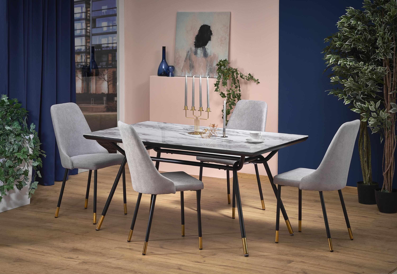 Set masa din sticla si metal Glamour Marmura / Negru + 4 scaune tapitate cu stofa K318 Gri, L160xl90xH76 cm la pret 2491 lei
