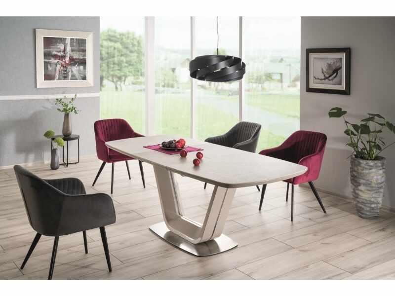 Set masa extensibila din ceramica, MDF si metal Ansel Gri deschis + 2 scaune Celine Velvet Burgundy + 2 scaune Celine Velvet Gri, L160-220xl90xH76 cm la pret 4821 lei