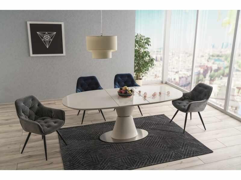Set masa extensibila din ceramica, MDF si metal Esmee Alb + 2 scaune Clarise Velvet Bleumarin + 2 scaune Clarise Velvet Gri, L160-210xl90xH76 cm la pret 4972 lei