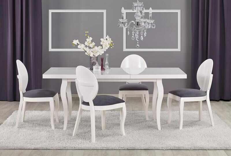Set masa extensibila din lemn de fag si MDF Mozart Alb + 4 scaune tapitate cu stofa Verdi Alb / Gri, L140-180xl80xh75 cm  la pret 3908 lei