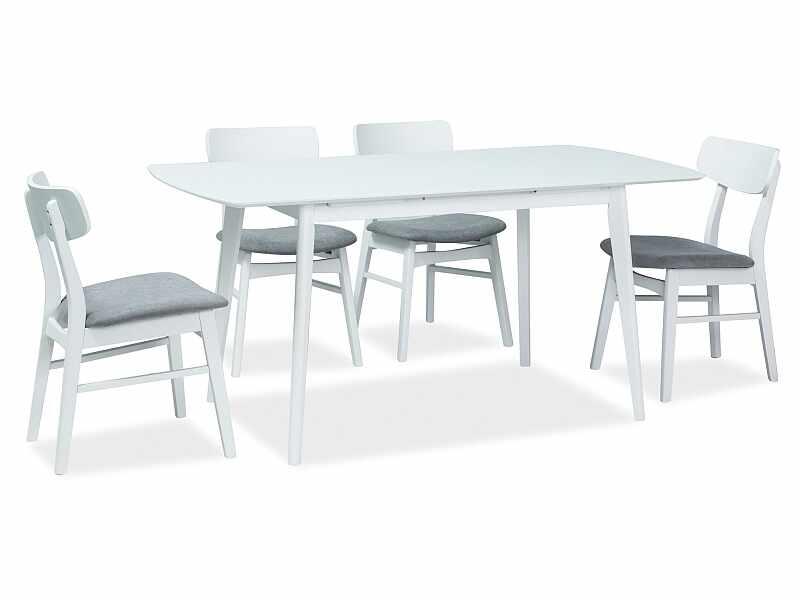 Set masa extensibila din MDF si lemn Combo II Alb + 4 scaune din lemn, tapitate cu stofa Frans Gri / Alb, L120-160xl80xH75 cm la pret 2265 lei