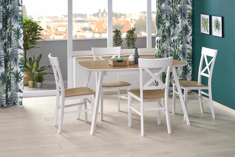 Set masa extensibila din MDF si lemn de fag Kajetan 2 Stejar / Alb + 4 scaune Tutti Alb / Stejar, L135-185xl82xH76 cm la pret 2999 lei