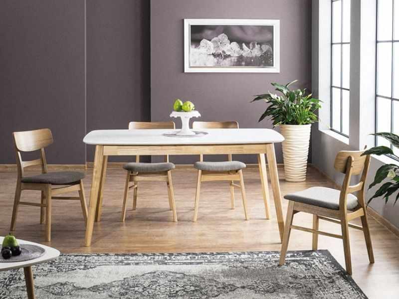 Set masa extensibila din MDF si lemn Felicio II Alb / Stejar + 4 scaune tapitate cu stofa CD-61 Gri / Stejar, L150-190xl90xH75 cm la pret 2480 lei