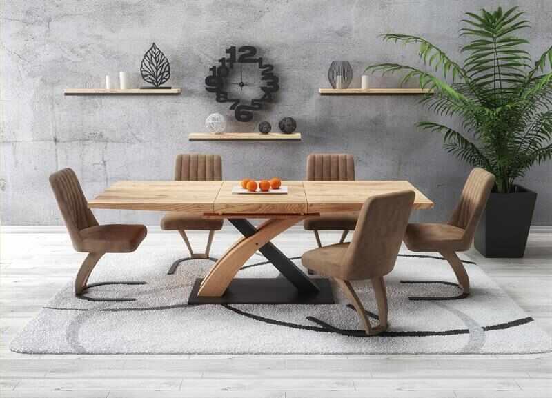 Set masa extensibila din MDF si metal Sandor 3 Stejar auriu + 4 scaune tapitate cu piele ecologica K338 Maro, L160-220xl90xH77 cm la pret 4064 lei