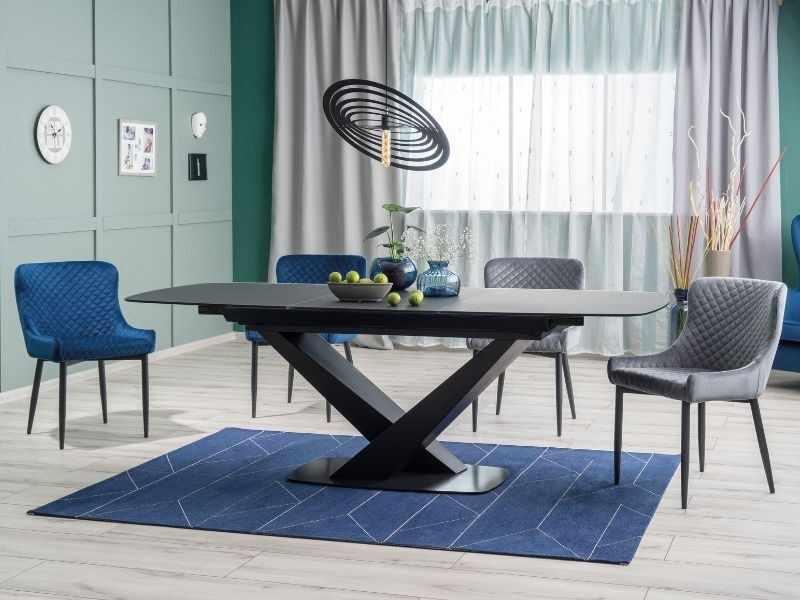 Set masa extensibila din MDF, sticla si metal Aldora Negru + 2 scaune tapitate Camile Velvet Gri + 2 scaune tapitate Camile Velvet Bleumarin, L160-220xl90xH76 cm la pret 4792 lei