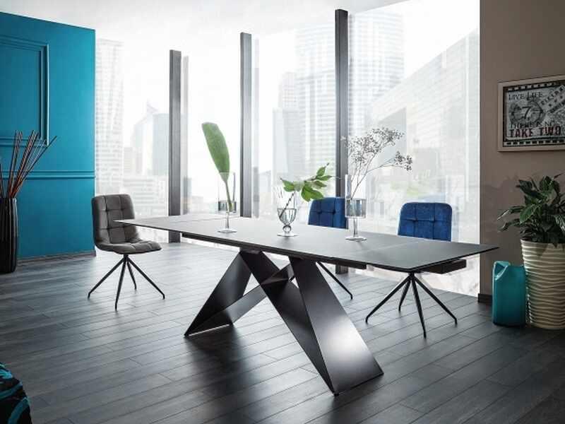 Set masa extensibila din sticla si metal Miles Negru + 2 scaune tapitate Tilde Velvet Bleumarin +2 scaune tapitate Tilde Velvet Negru, L160-240xl90xH76 cm la pret 4417 lei
