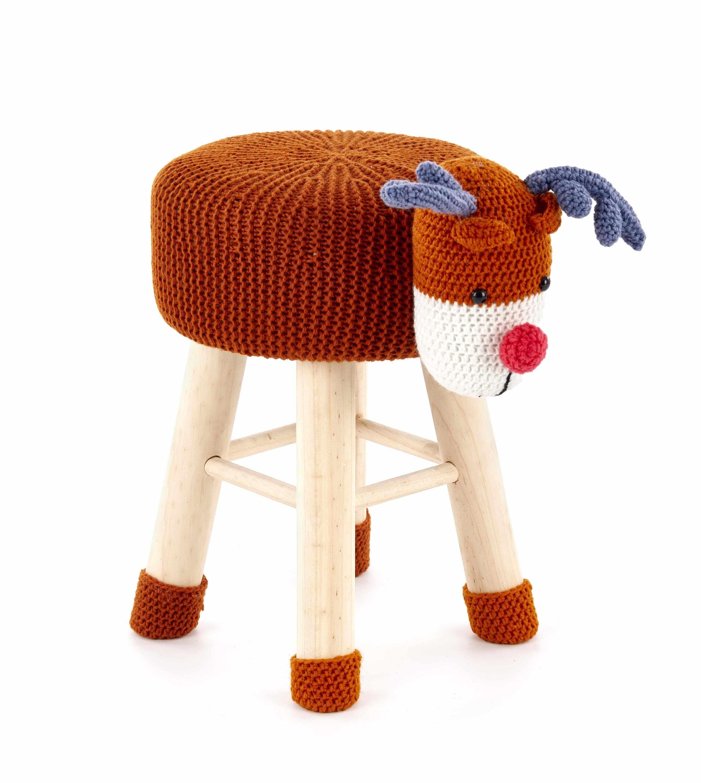 Taburet pentru copii tapitat cu stofa, cu picioare din lemn Dolly 3 Multicolour, Ø42xH29 cm la pret 168 lei