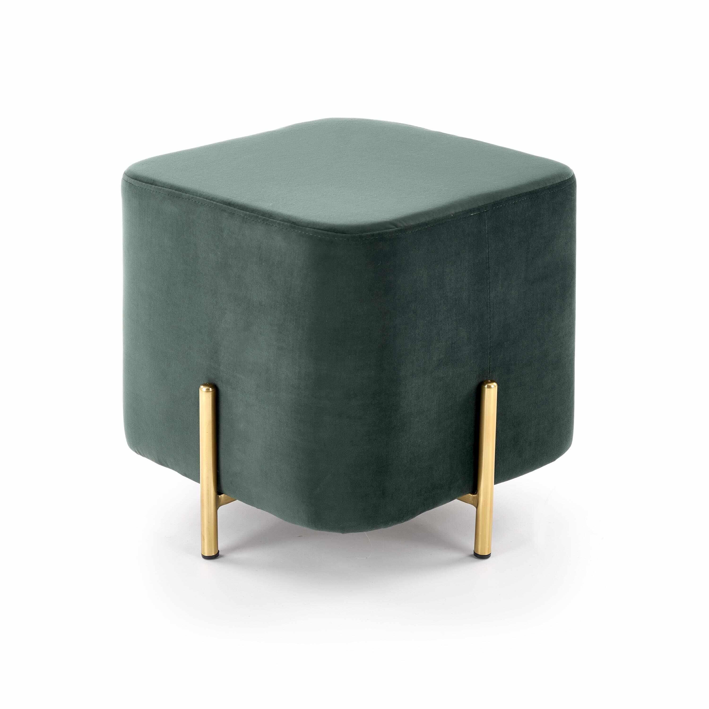 Taburet tapitat cu stofa, cu picioare din metal Corno Dark Green / Gold, l42xA42xH42 cm la pret 274 lei