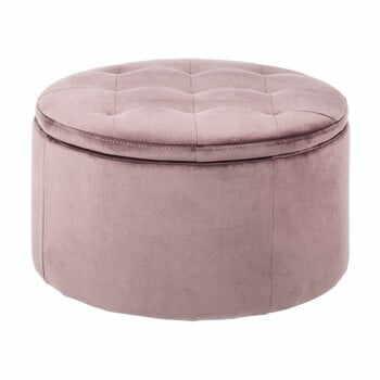 Otoman cu spațiu pentru depozitare Actona Vic, ⌀ 60 cm, roz la pret 598 lei