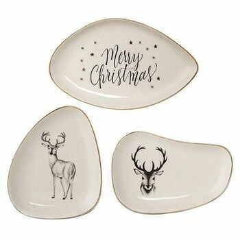 Set 3 tăvi decorative din ceramică Bloomingville Noel la pret 199 lei