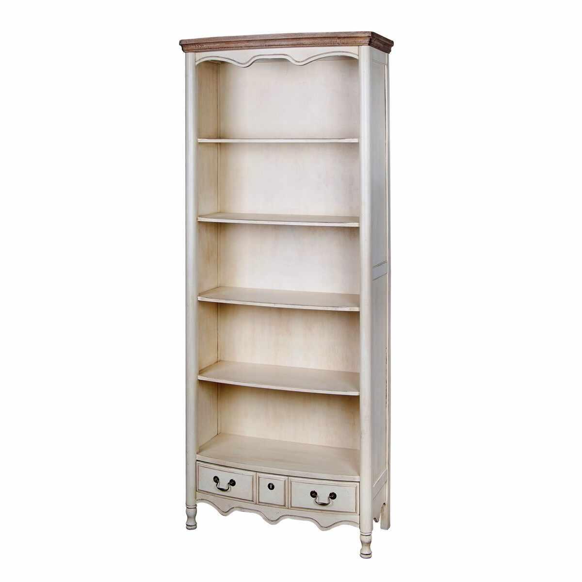 Biblioteca din lemn de cauciuc si furnir, cu 1 sertar Limena LI819 Ivory, l80xA39xH192 cm la pret 3977 lei