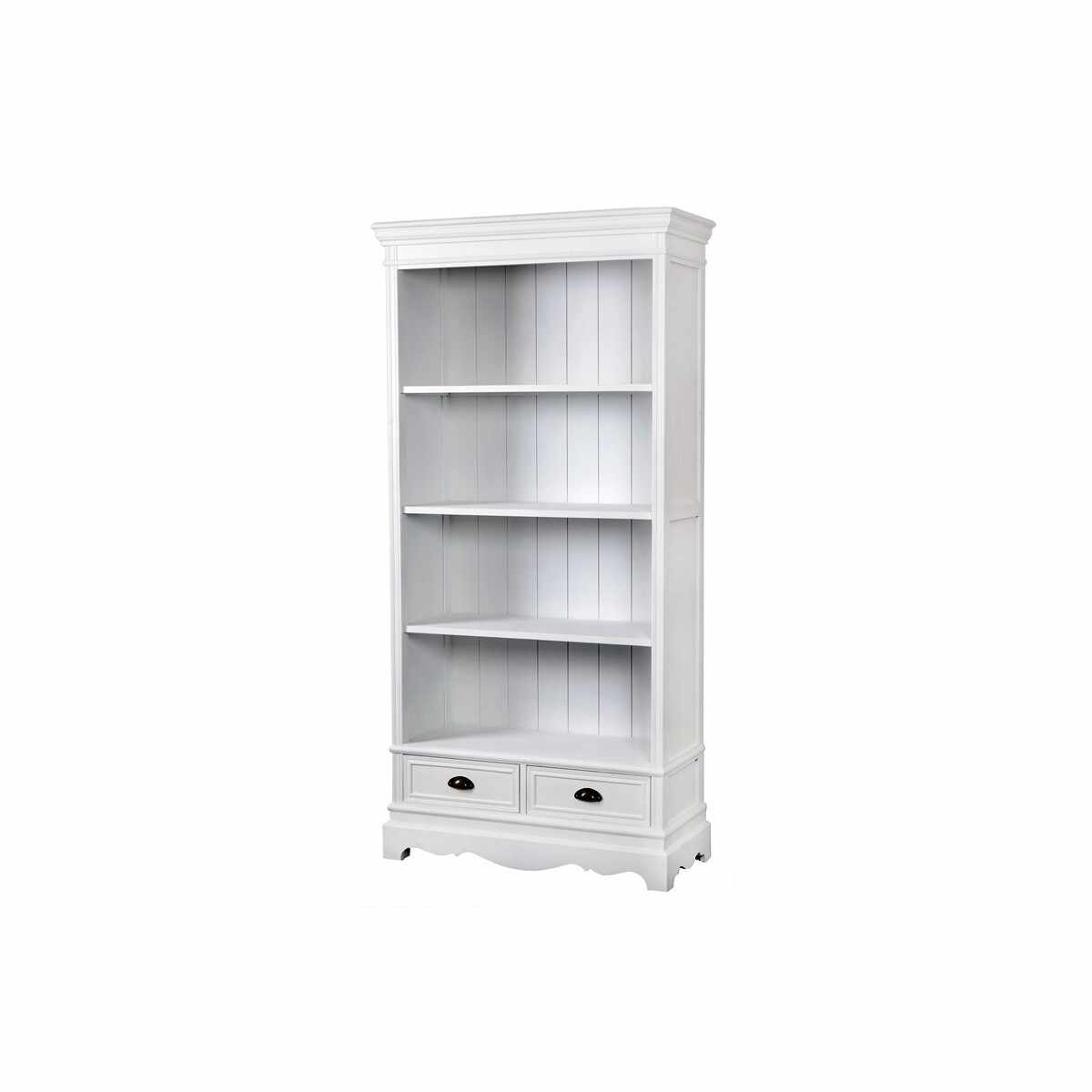 Biblioteca din lemn de plop si MDF, cu 2 sertare Latina LA02 White, l90xA39xH185 cm la pret 3027 lei