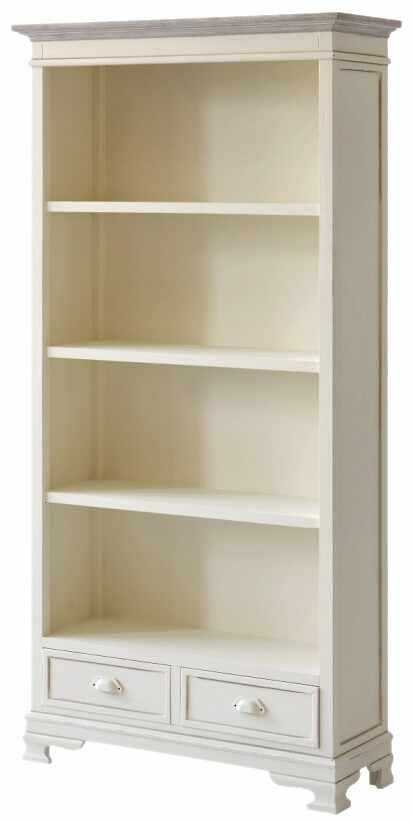 Biblioteca din lemn de plop si MDF, cu 2 sertare Pesaro PE02 Cream, l90xA33xH180 cm la pret 2384 lei