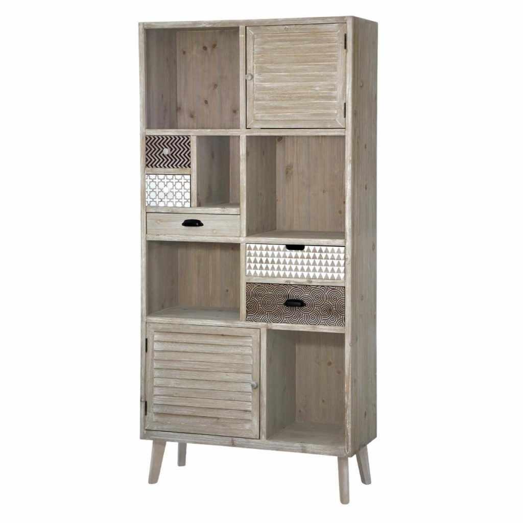 Biblioteca din lemn de plop si MDF, cu 5 sertare si 2 usi, Loano LO01 Light Brown, l90xA35xH187 cm la pret 2711 lei
