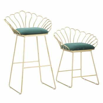 Set 2 scaune bar Mauro Ferretti Flower, auriu-verde la pret 1034 lei