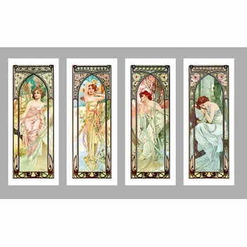 Set 4 reproduceri trablou Alfonse Muchy - Times of The Day, 40 x 100 cm la pret 692 lei