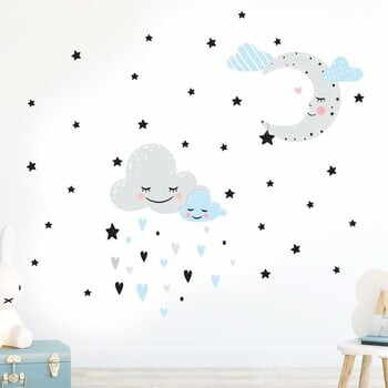 Autocolant Ambiance Moon And Clouds Love In The Stars, albastru