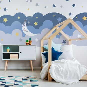 Autocolant Ambiance Scandinavian Clouds With Stars And Moon