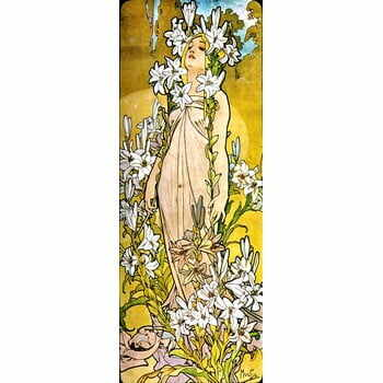 Reproducere tablou Alfons Mucha - The Flowers Lily, 30 x 80 cm la pret 171 lei