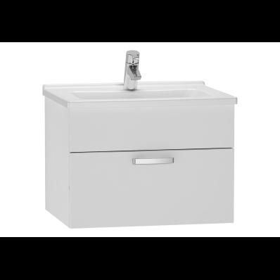 Set mobilier Vitra S50 dulap baza cu 1 sertar alb lucios sifon si lavoar 60cm la pret 2607.66 lei