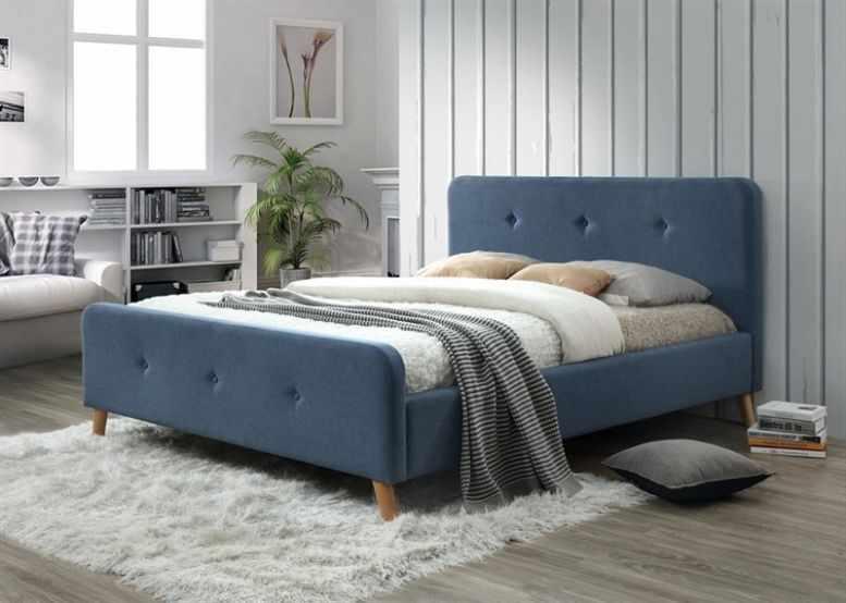 Pat de mobila dormitor modern albastru Malmo 160 la pret 1427 lei