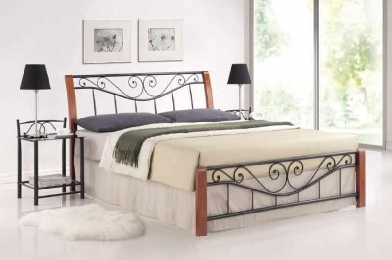 Cadru pat metalic 140 x 200 cu insertii lemn Parma, negru/cires antic la pret 1039 lei