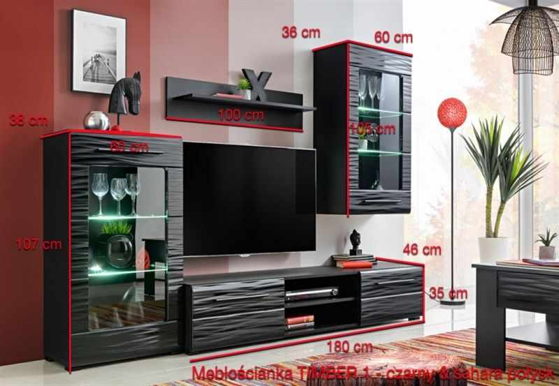 Mobila living 240 cm Timber 1, neagra
