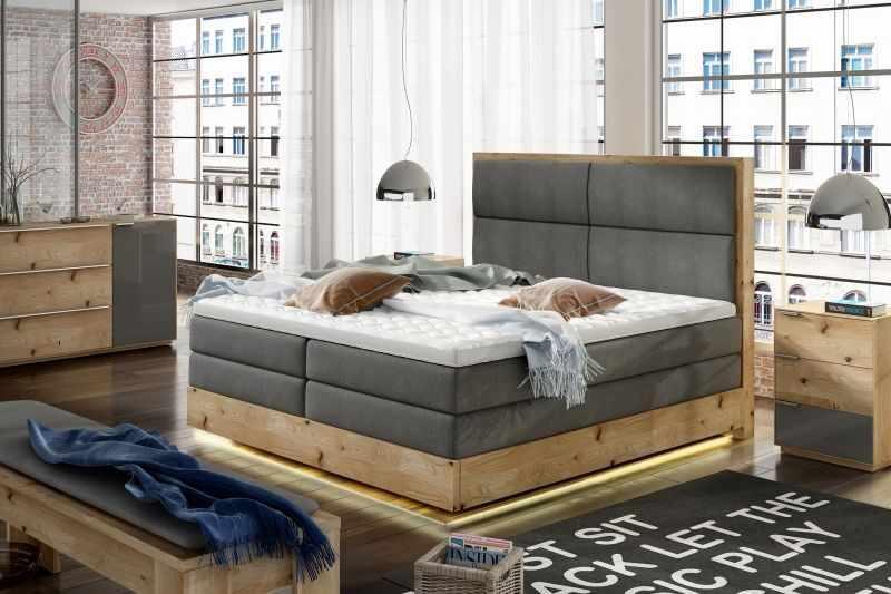 Paturi dormitor cu led boxspring TRENTO 160 la pret 8213 lei