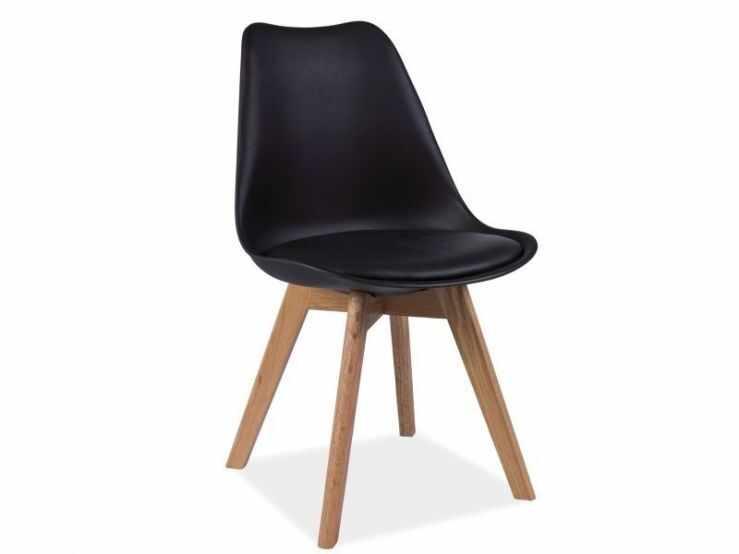 Scaun din lemn masiv de stejar si plastic Kris, negru la pret 272 lei