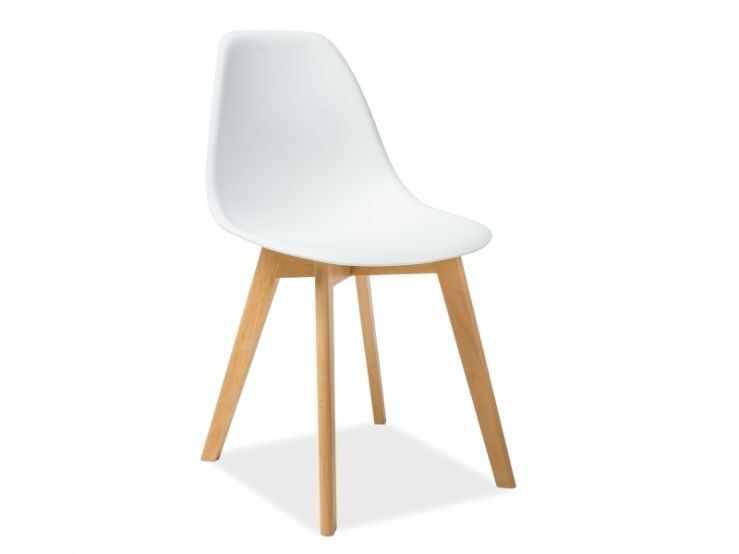 Scaun din lemn si plastic alb Moris la pret 160 lei