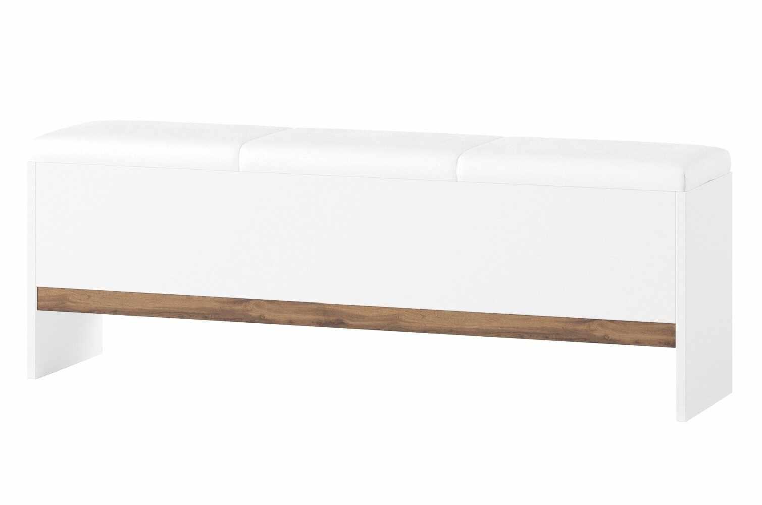 Banca tapitata cu piele ecologica Livorno 65 Oak / White, l165xA35xH53 cm la pret 1081 lei