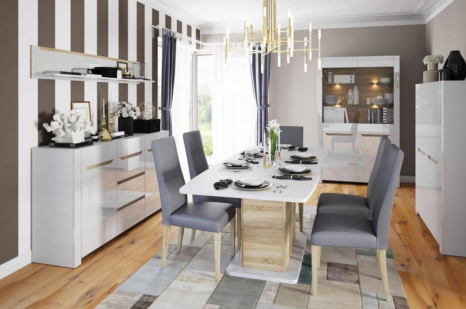 Set de mobila dining din MDF, 5 piese Ice White / Sonoma Oak la pret 5331 lei