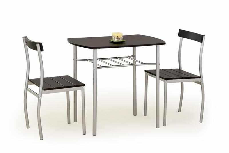 Set masa din MDF si metal + 2 scaune Lance Wenge, L82xl50xH75 cm la pret 335 lei