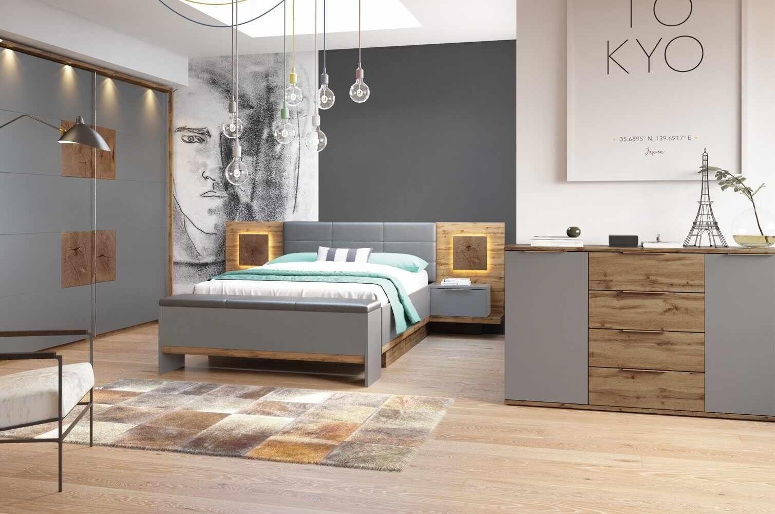 Set Mobila Dormitor 6 piese Livorno Oak / Grey la pret 8581 lei