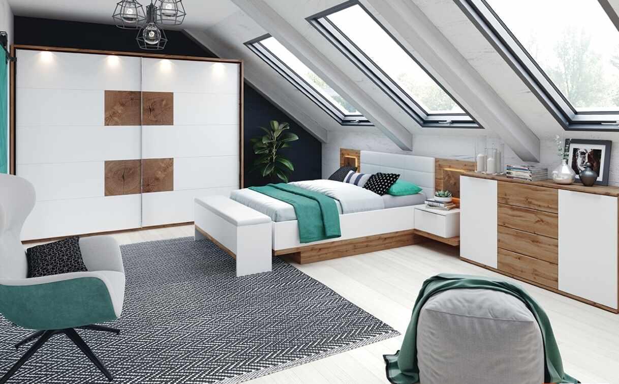 Set Mobila Dormitor 6 piese Livorno Oak / White la pret 8581 lei