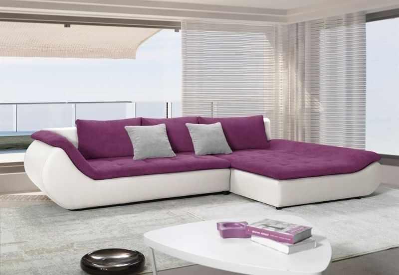 Coltare de sufragerie moderne PRATO, piele ecologica alba cu stofa mov la pret 2999 lei