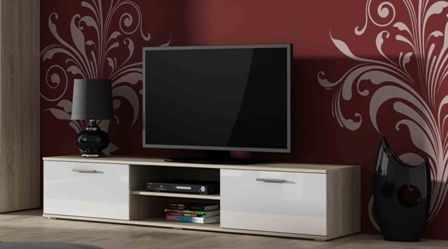 Comoda TV cu 2 usi si 2 spatii depozitare stejar sonoma/alb Soho RTV 180 la pret 470 lei