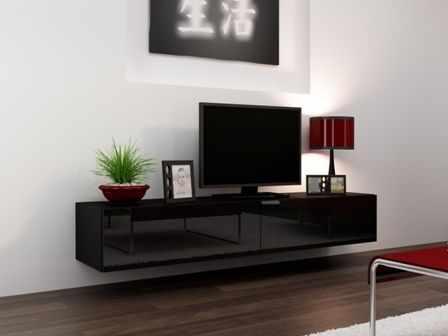 Comoda TV cu 2 usi suspendata Vigo 180, neagra la pret 602 lei