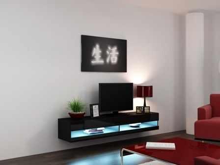 Comoda TV cu vitrina Vigo New neagra 180 la pret 647 lei