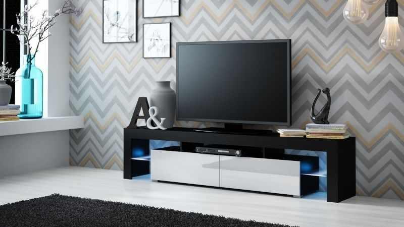 Comoda TV negru mat/alb lucios Solo la pret 829 lei
